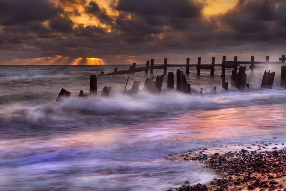 Slow shutter speed at Happisburgh in Norfolk