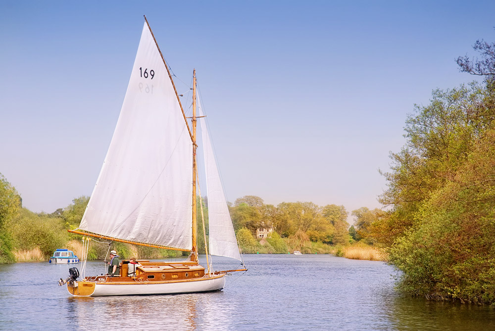 Sail boat on the Norfolk Broads