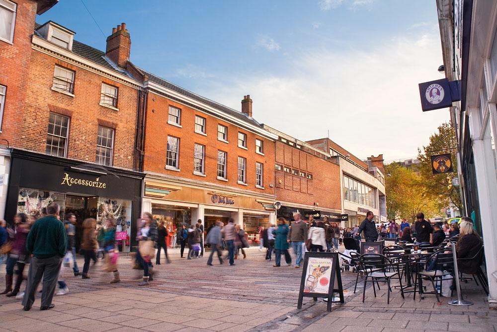 Shoppers in Norwich