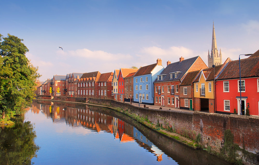 The River Wensum flows past Quayside in Norwich